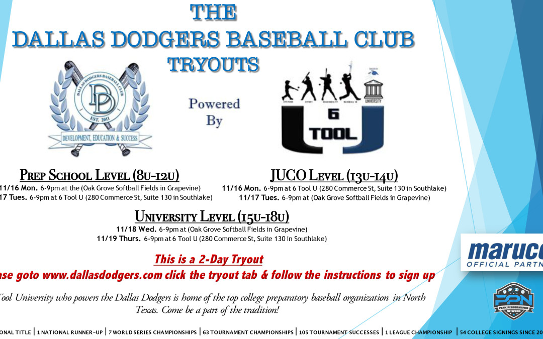 Dallas Dodgers Tryouts – Spring 2016